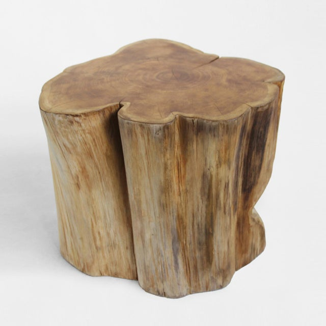 Organic teak stump stool/side table with a hand waxed finish. This unique piece shows off the wood's natural grain, tones,...