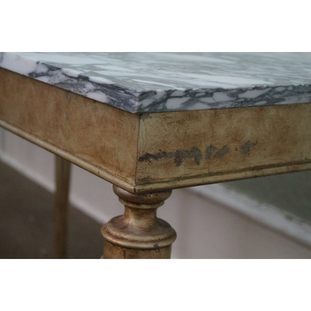 Vintage Silver Gilt Marble Top Console Table - Image 9 of 10