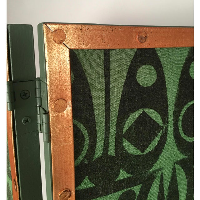 Animal Skin Hand Block Printed Black and Green Fabric Four Panel Screen For Sale - Image 7 of 11