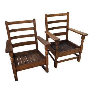 Tiger Oak Mission Style Chairs - a Pair For Sale