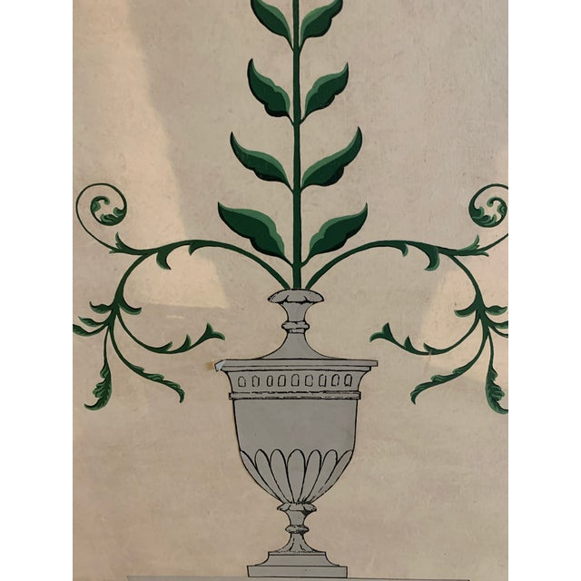 English Hand-Painted and Decoupaged Garden Screens With Urn Motif - A Pair For Sale - Image 3 of 13