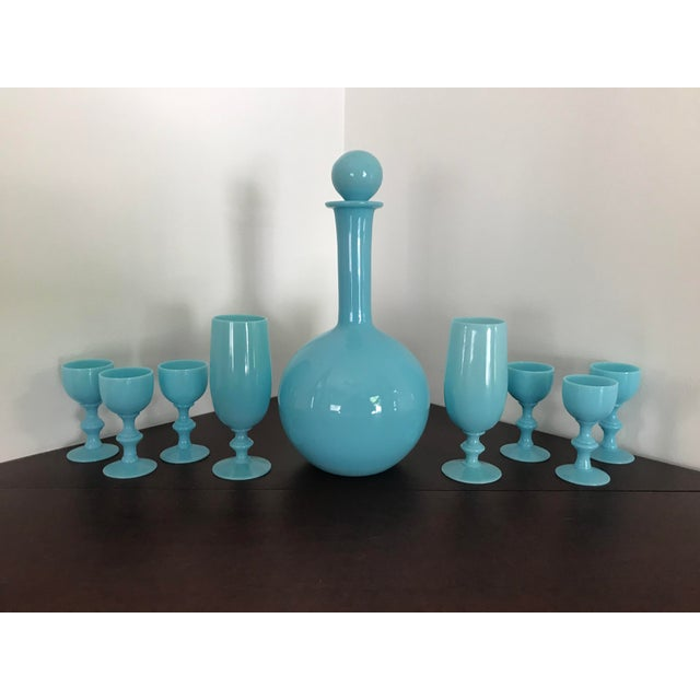 Early 20th Century Early 20th Century French Blue Opaline Decanter & Cordial Goblets Glassware by Portieux Vallerysthal - Set of 9 For Sale - Image 5 of 10