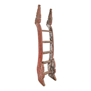 Antique Indonesian Red Painted and Hand Carved Ladder with Distressed Finish For Sale