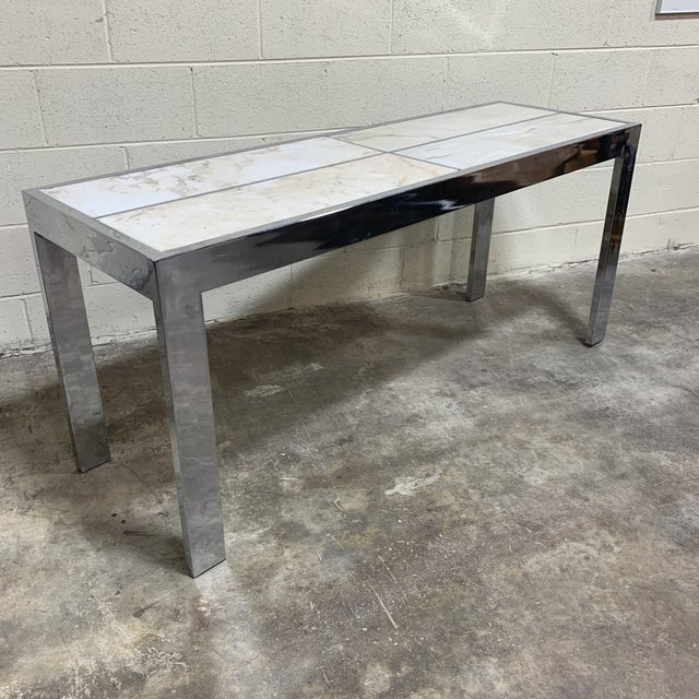 Pace Carrara Marble & Chrome Console Table For Sale - Image 12 of 12