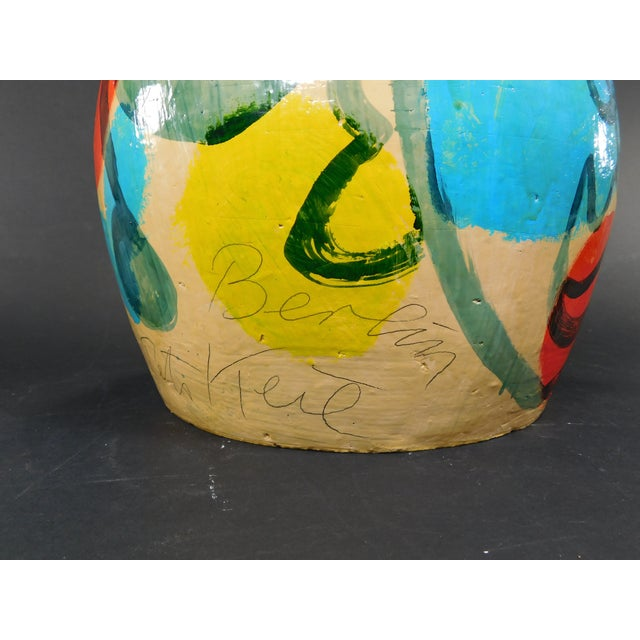 Modern Peter Keil Painted Abstract Faces Jug For Sale - Image 3 of 8