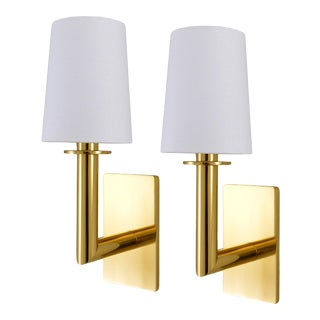 Phoenix Day Polished Brass Jacob Sconces - a Pair For Sale