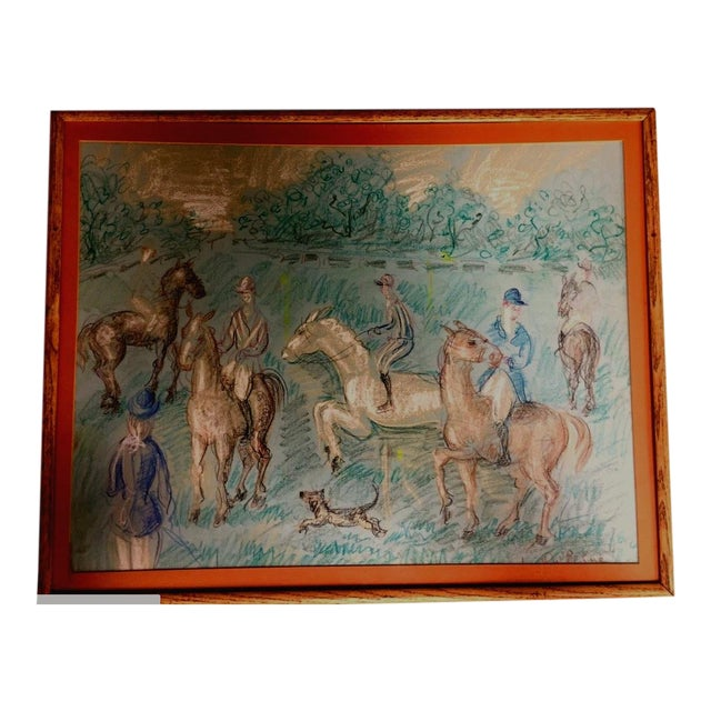 1950s Vintage French Hunting Scene Drawing For Sale