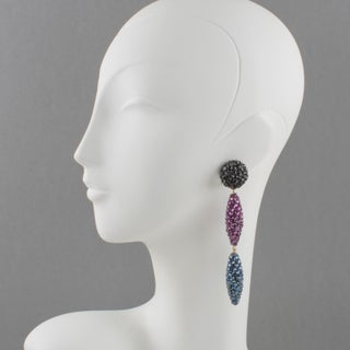 Richard Kerr Oversized Dangle Jeweled Clip Earrings Preview