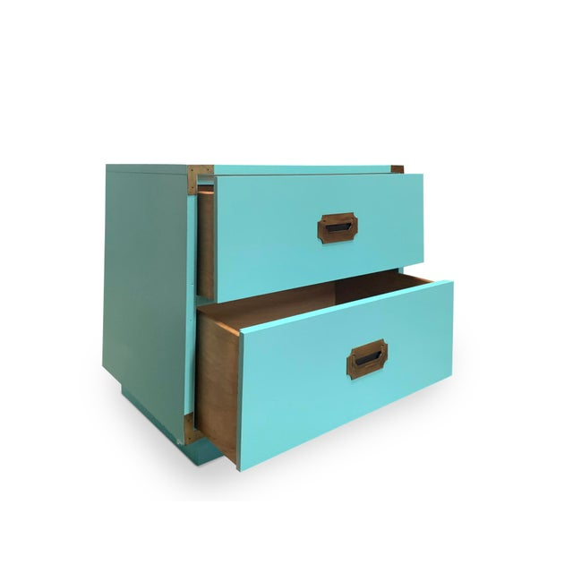 1970s Vintage Aqua Dixie Campaign Nightstands - a Pair For Sale - Image 5 of 8