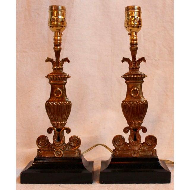 Vintage Bronze & Steel Urn Lamps - Pair - Image 2 of 5