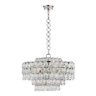 Aerin Liscia Tiered Cylindrical Medium Chandelier and Bulbs For Sale