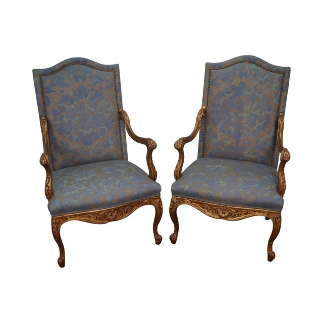 French Louis XV Style Carved Gilt Arm Chairs - A Pair - Image 1 of 10