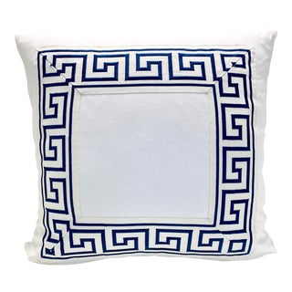 """Contemporary Square Custom Made White With Navy Greek Key Trim Pillow - 21"""" For Sale"""