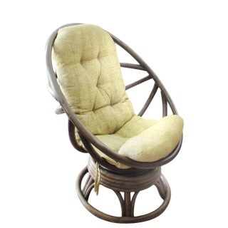 Boho Rattan Swivel Rocker For Sale