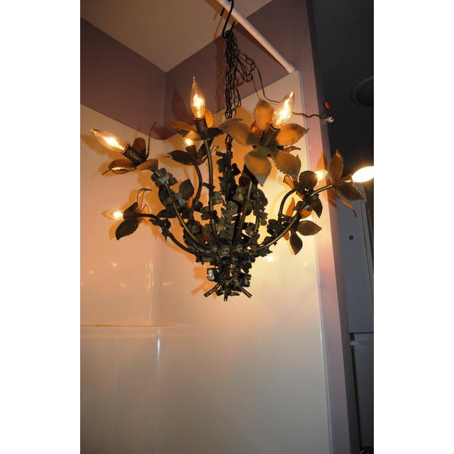 Metal Mid-Century Feldman Brutalist Floral Chandelier Attributed to Tom Greene For Sale - Image 7 of 8