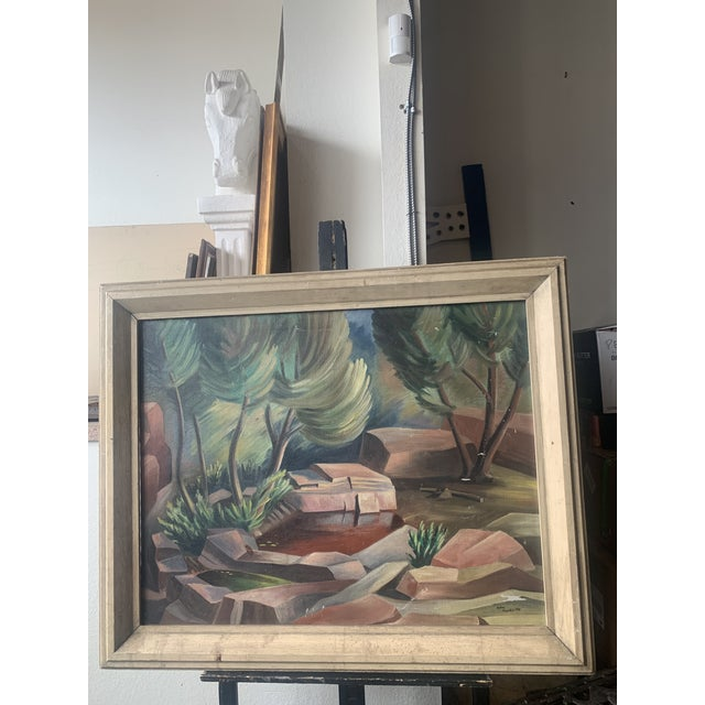 Signed and dated large scale landscape painting with a period wooden frame.