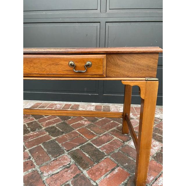 Campaign Vintage Lane Altavista Mahogany, Brass, Leather Desk For Sale - Image 3 of 9
