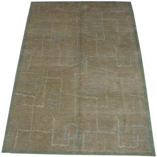 Modern Decorative Woolen Tibetan Handmade Rug- 4′1″ × 6′2″ For Sale