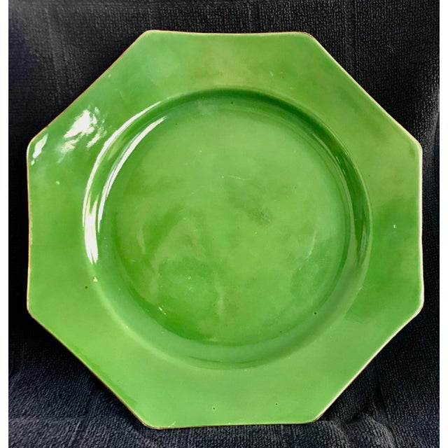 Antique English Crown Ducal Ware Green China Hexagon Plate For Sale In Los Angeles - Image 6 of 6