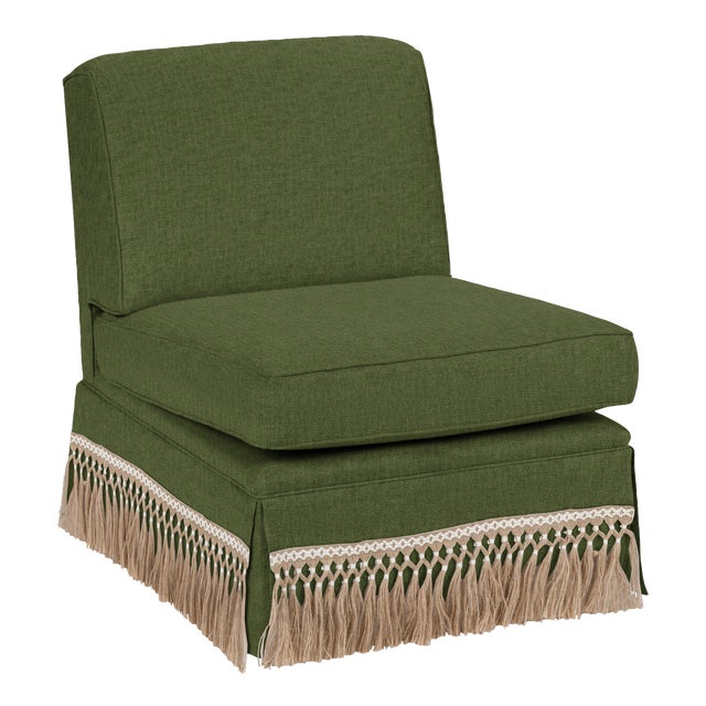 Traditional Casa Cosima Skirted Slipper Chair, Broccoli For Sale - Image 3 of 3