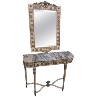 20th Century Louis Philippe Style Wood & Ceramic Console Table & Matching Mirror For Sale