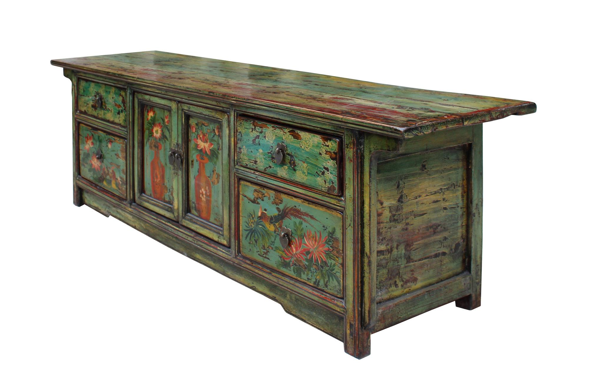 Chinese Distressed Blue Green Flower Graphic Low TV Console Cabinet   Image  5 Of 8