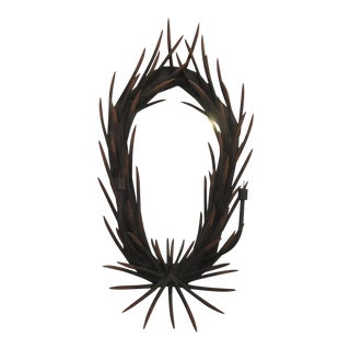 Wooden Antler Wall Mirror For Sale