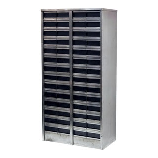 Large Industrial Burnished Steel Cabinet of Drawers For Sale
