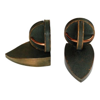 Pair of Geometric Bookends in the Style of Jacques Adnet For Sale