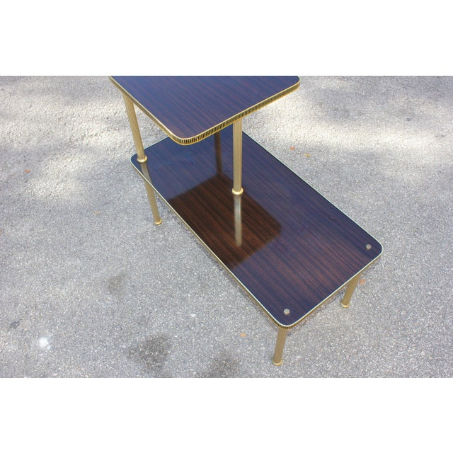 1940s 1940s Art Deco Mahogany and Brass Gueridon Side Table For Sale - Image 5 of 13