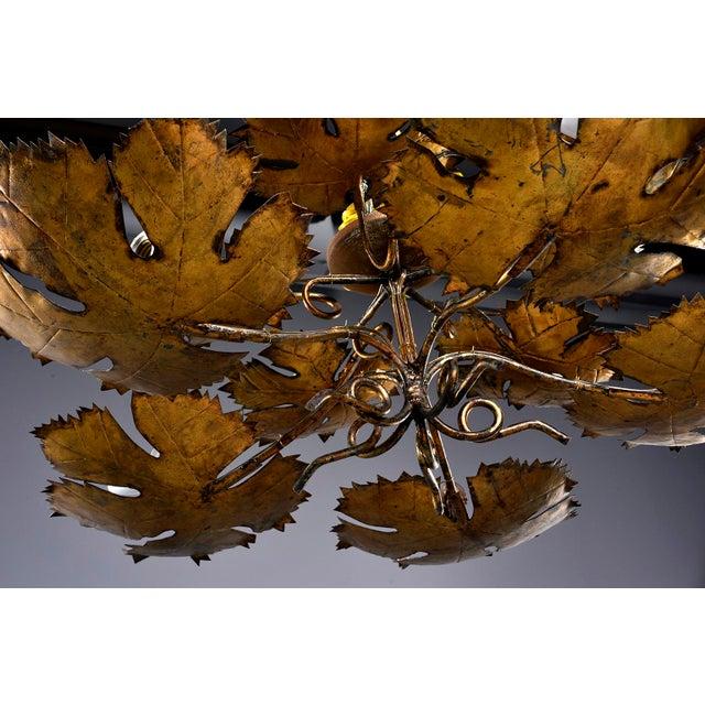Spanish Gilt Metal Leaf Form Five Light Hanging Fixture For Sale - Image 11 of 13