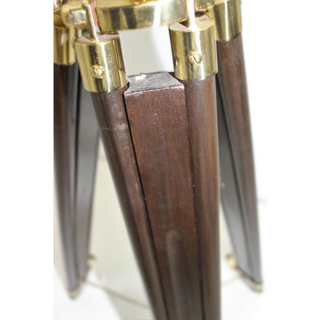 Antique Brass Telescope on Folding Wood Tripod Legs For Sale - Image 10 of 13