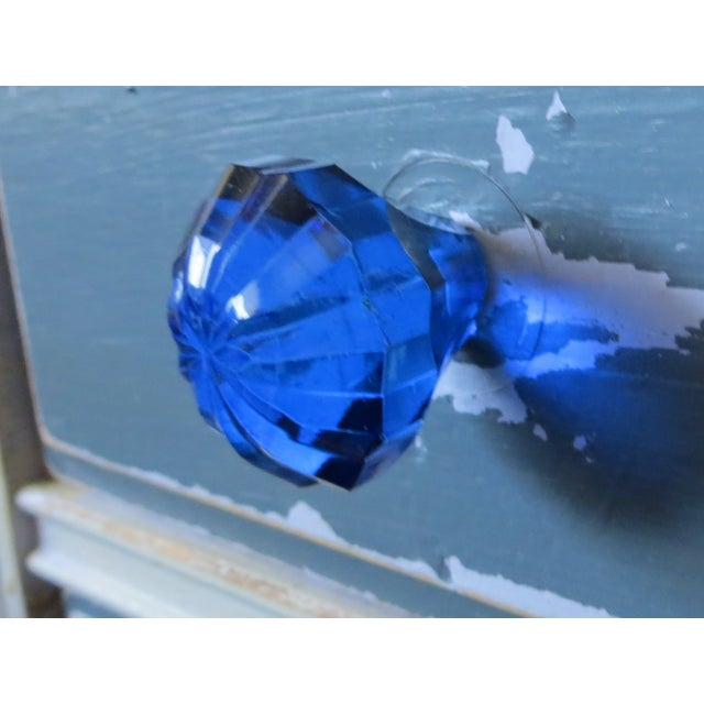 Blue Glass Flower Shaped Glass Knobs - Set of 6 - Image 3 of 3