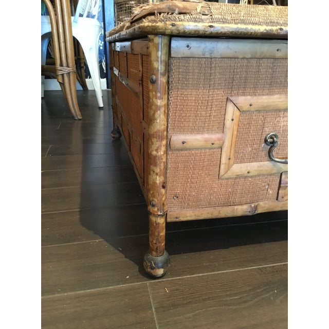 20th Century Asian Antique Scorched Bamboo Trunk For Sale - Image 12 of 13