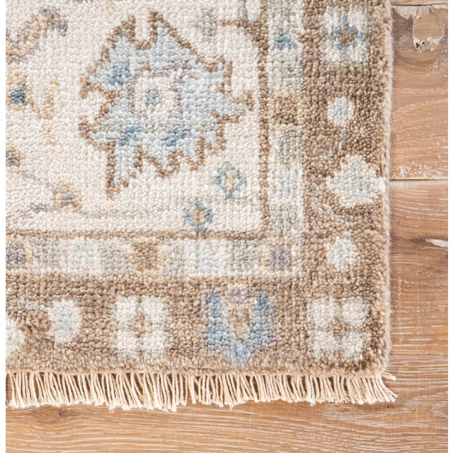 Contemporary Jaipur Living Princeton Hand-Knotted Floral Tan / Light Blue Area Rug - 5′ × 8′ For Sale - Image 3 of 6