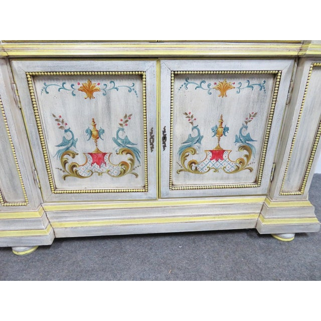 White Italian Painted Decorated Bookcase For Sale - Image 8 of 9