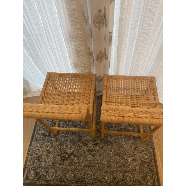 Mid Century Modern Costal Boho Chic Wicker Bar Stools - a Pair For Sale - Image 9 of 13