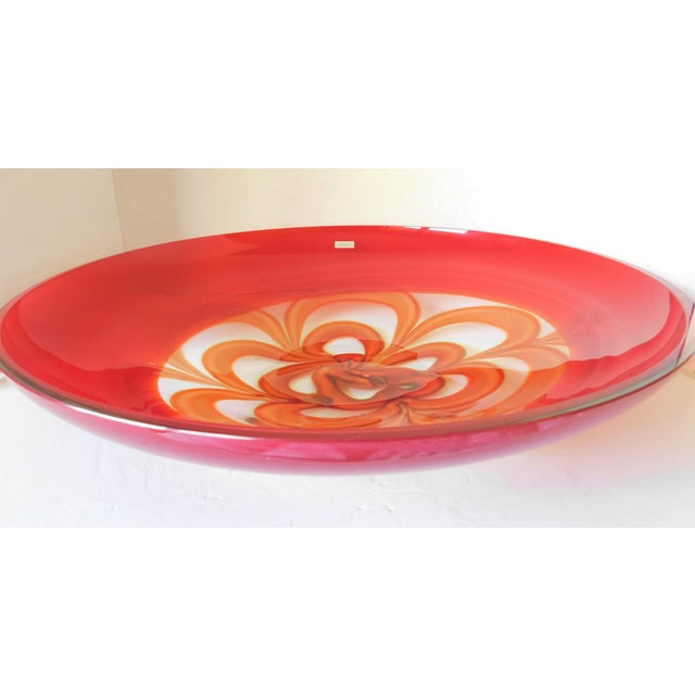 1980s Evolution by Waterford Red Art Glass Round Platter For Sale - Image 5 of 12