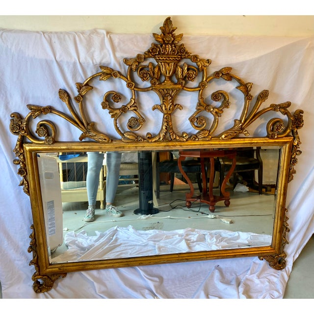 Metal Vintage Chinoiserie Gold Giltwood Carved Mirror With Floral Design For Sale - Image 7 of 7