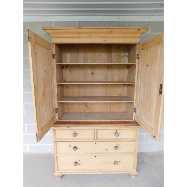 English Traditional Antique English 2pc Pine Linen Press Armoire Cabinet For Sale - Image 3 of 13