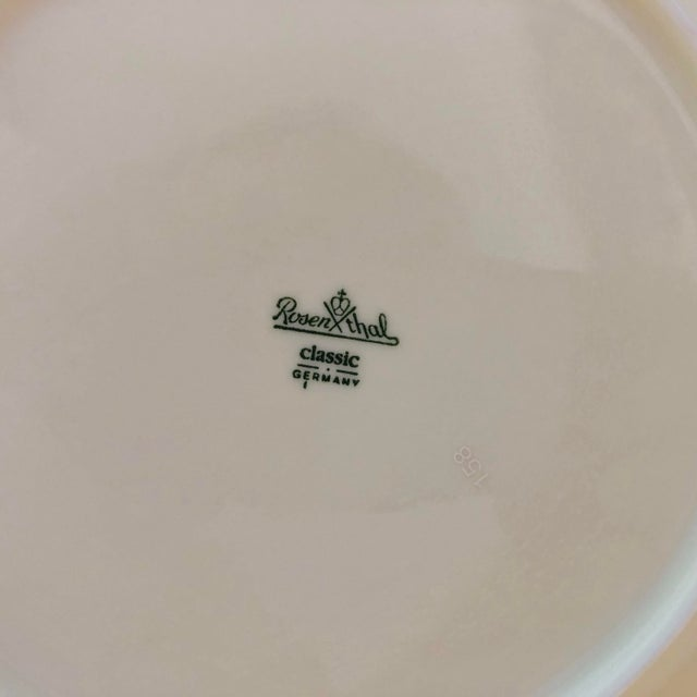 Rosenthal Germany Vintage Rosenthal Classic Rose Collection Sans Souci Ivory Dinner Plates S/4 For Sale - Image 4 of 5