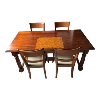 Large Wood Desk Table & Chairs - Set of 5