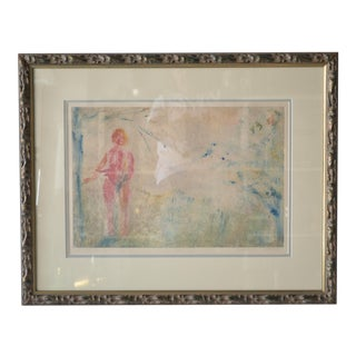 """1982 """"Eva-The Red Dream Pastel and Water Color Painting by Duguay"""