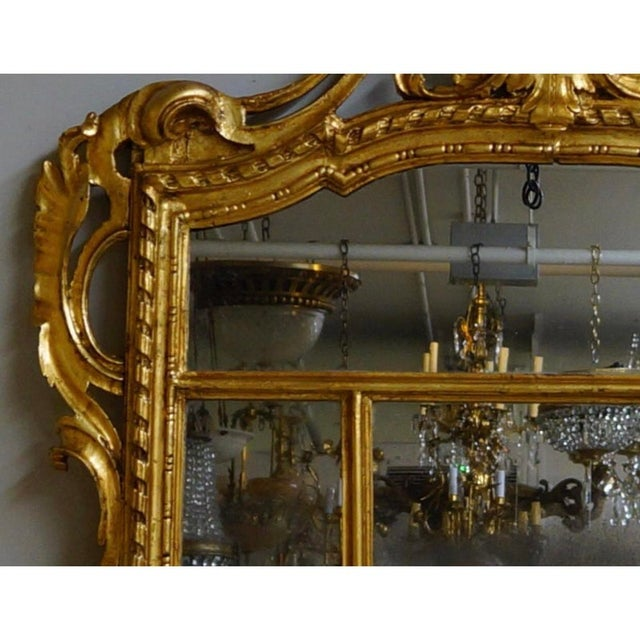 Wood 19th Century Louis XIV Style Gilt Wood and Gesso Mirror For Sale - Image 7 of 13