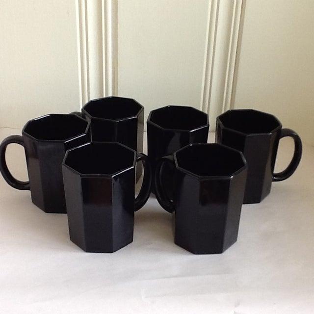 Ebony Ceramic French Mugs - Set of 6 For Sale - Image 4 of 11