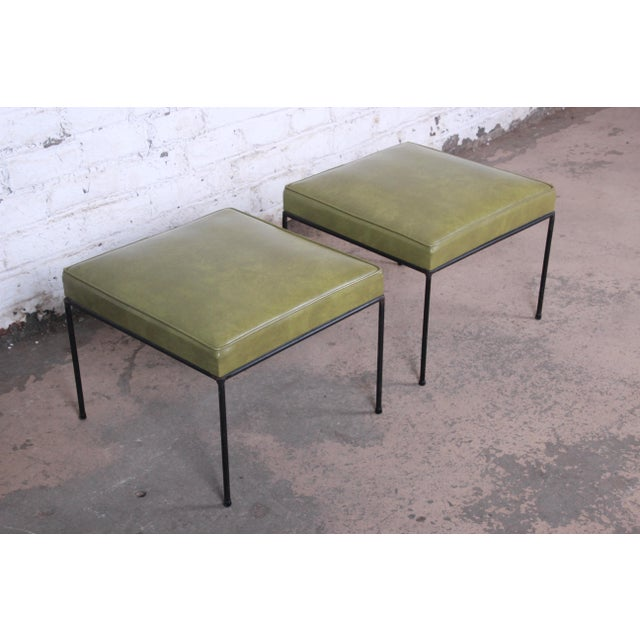 Contemporary Paul McCobb Upholstered Iron Stools or Ottomans, Pair For Sale - Image 3 of 10