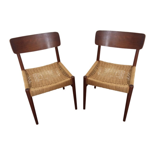 Vintage Danish Modern Rope Seat Chairs - A Pair - Image 1 of 6