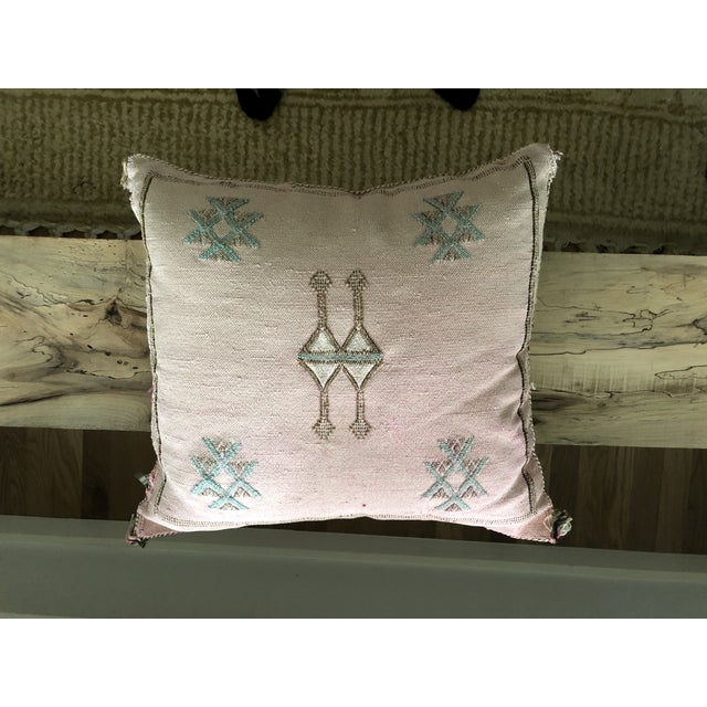 Pale Pink Cactus Silk Pillow For Sale In San Antonio - Image 6 of 6
