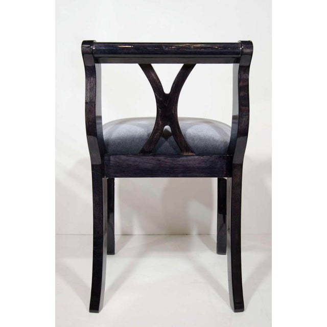 Charcoal Pair of Art Deco Vanity Chairs in Mohair and Ebonized Walnut For Sale - Image 7 of 10
