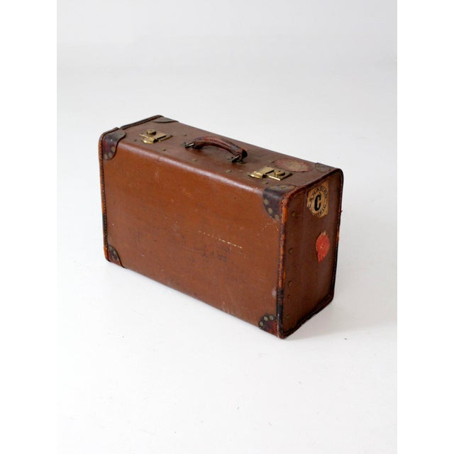 Vintage Suitcase With Travel Stickers For Sale - Image 4 of 8